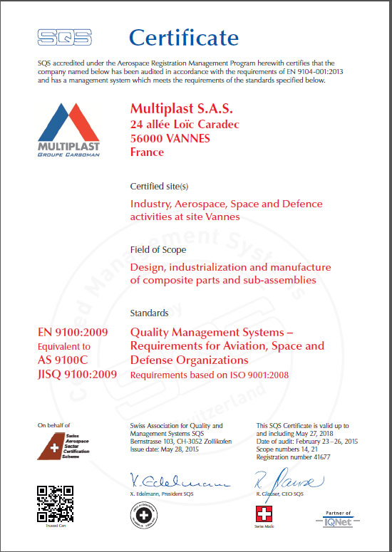 Multiplast certification Qualit